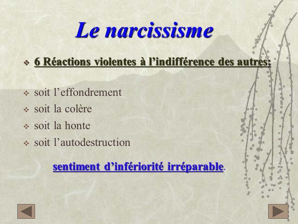 Le narcissisme 6 Réactions violentes à l'indifférence des autres: