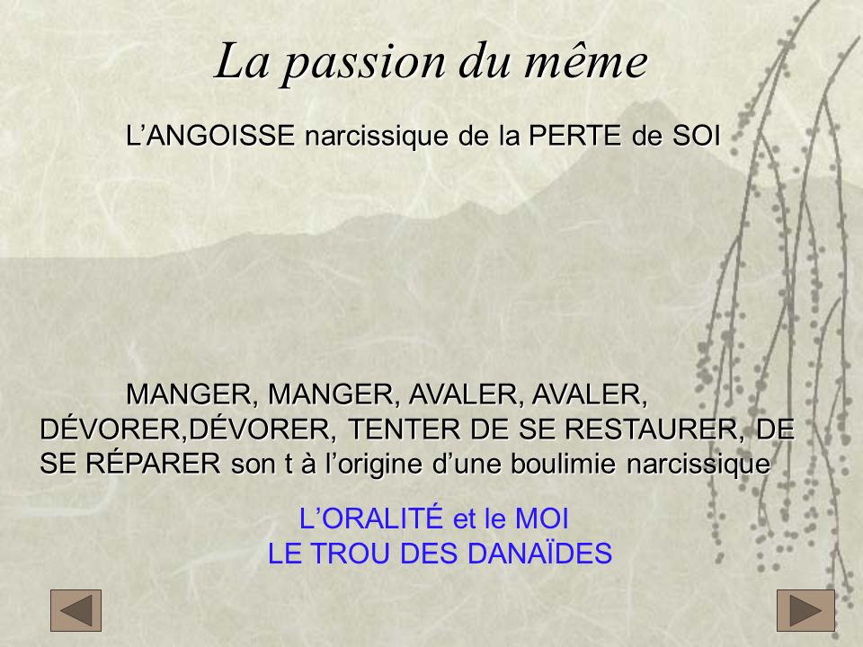 La passion du même L'ANGOISSE narcissique de la PERTE de SOI