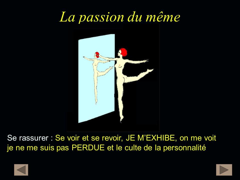 La passion du même Se rassurer : Se voir et se revoir, JE M'EXHIBE, on me voit je ne me suis pas PERDUE et le culte de la personnalité.