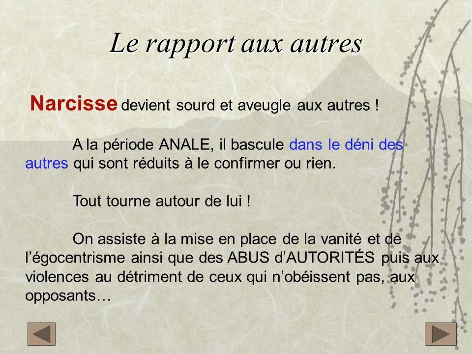 Le rapport aux autres Narcisse devient sourd et aveugle aux autres !