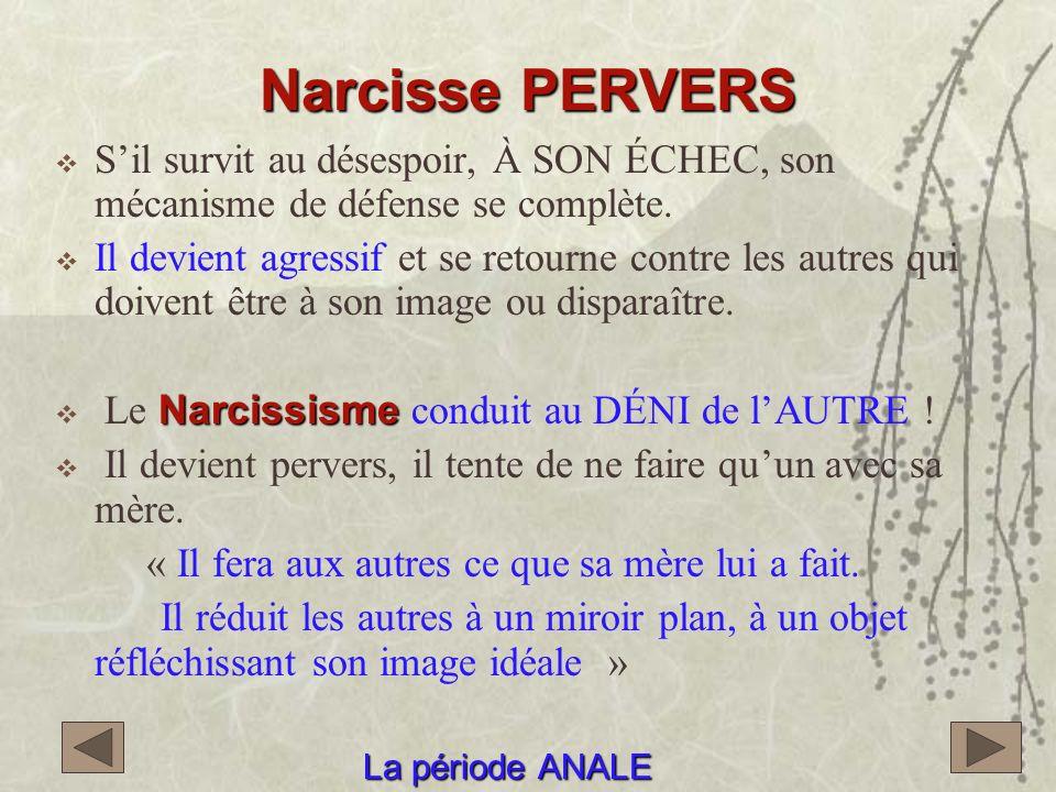 Narcisse PERVERS S'il survit au désespoir, À SON ÉCHEC, son mécanisme de défense se complète.