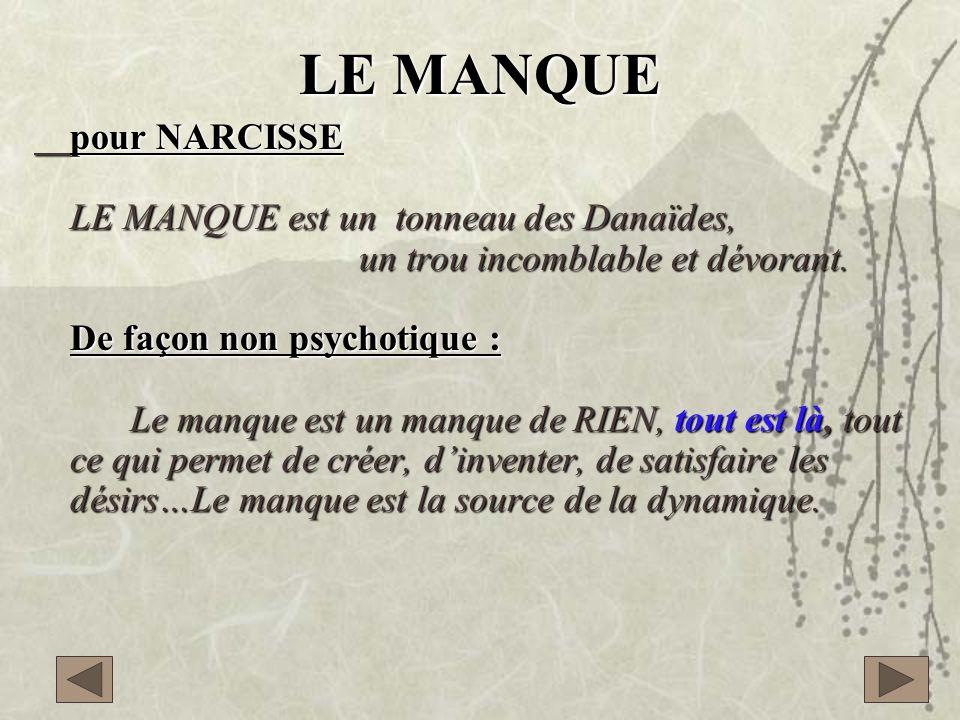 LE MANQUE pour NARCISSE LE MANQUE est un tonneau des Danaïdes,