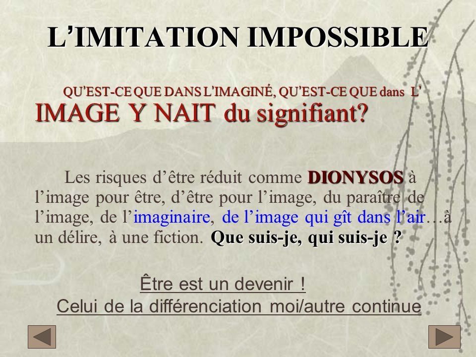 L'IMITATION IMPOSSIBLE