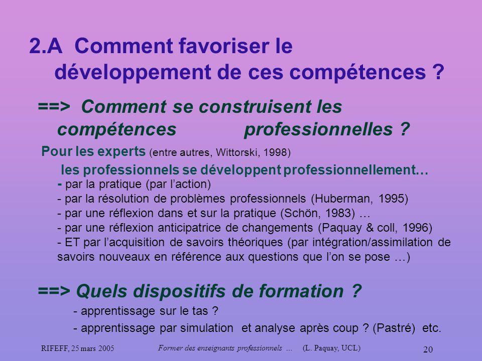 2.A Comment favoriser le développement de ces compétences
