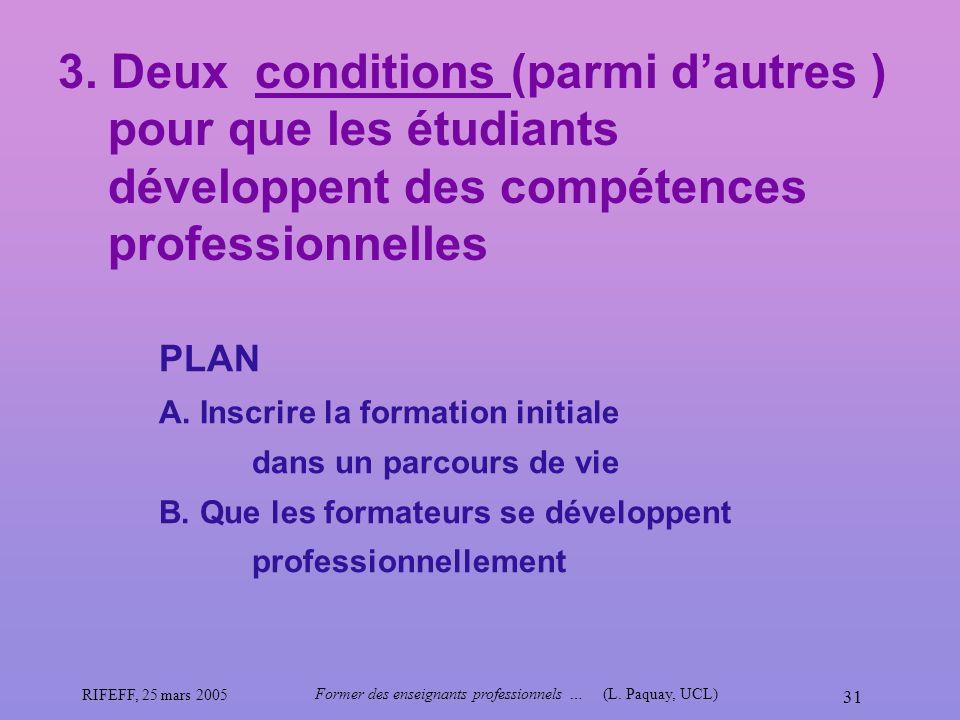 Former des enseignants professionnels … (L. Paquay, UCL)