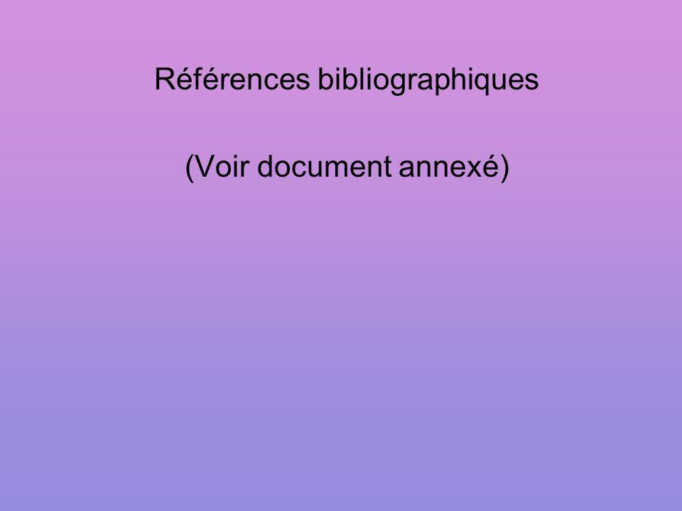 Références bibliographiques (Voir document annexé)