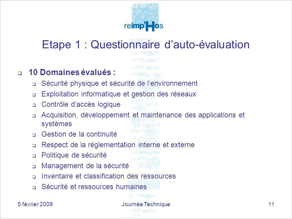Etape 1 : Questionnaire d'auto-évaluation