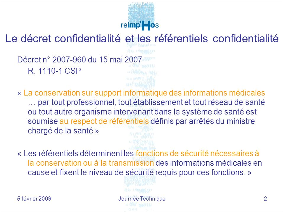 Le décret confidentialité et les référentiels confidentialité