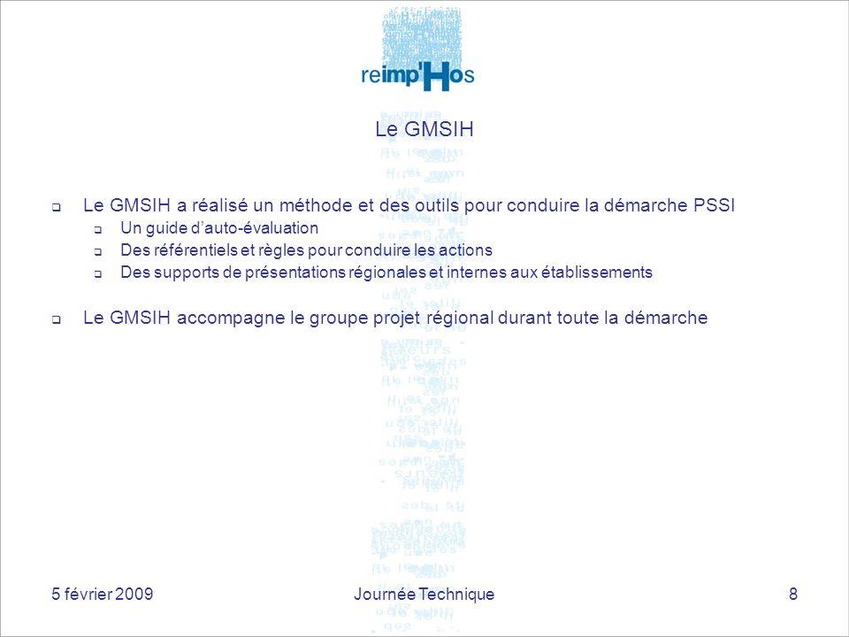 Le GMSIH Le GMSIH a réalisé un méthode et des outils pour conduire la démarche PSSI. Un guide d'auto-évaluation.