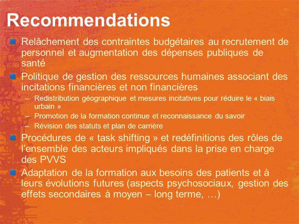 Recommendations Relâchement des contraintes budgétaires au recrutement de personnel et augmentation des dépenses publiques de santé.