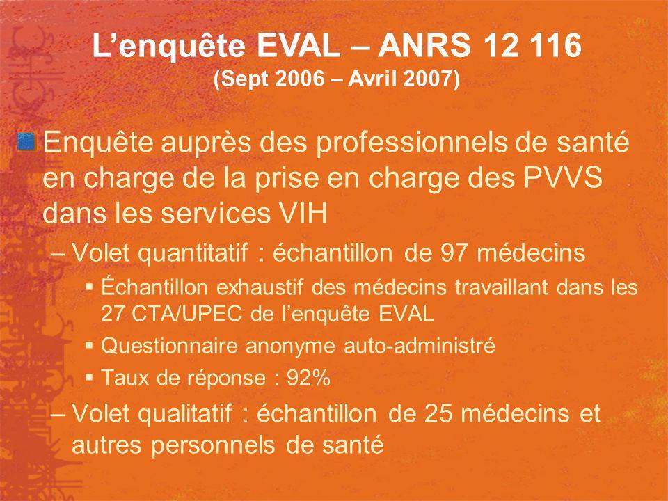 L'enquête EVAL – ANRS 12 116 (Sept 2006 – Avril 2007)