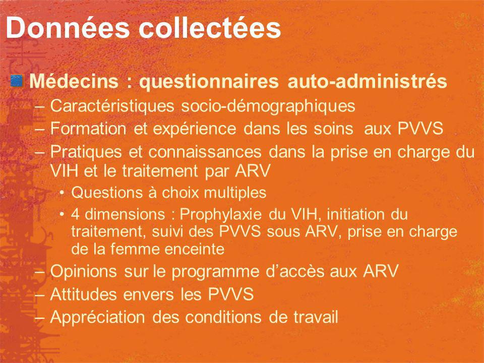 Données collectées Médecins : questionnaires auto-administrés