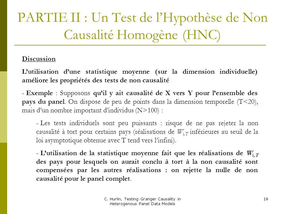 PARTIE II : Un Test de l'Hypothèse de Non Causalité Homogène (HNC)