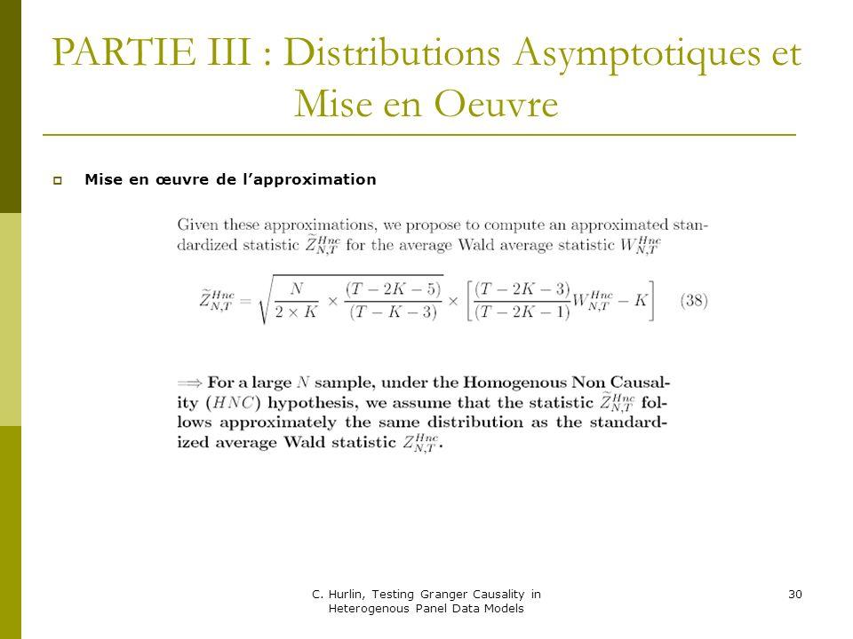 PARTIE III : Distributions Asymptotiques et Mise en Oeuvre