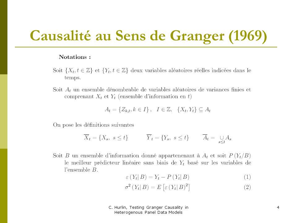 Causalité au Sens de Granger (1969)