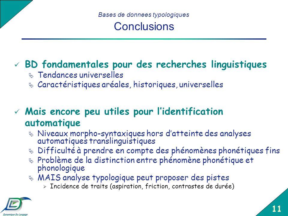 Bases de donnees typologiques Conclusions