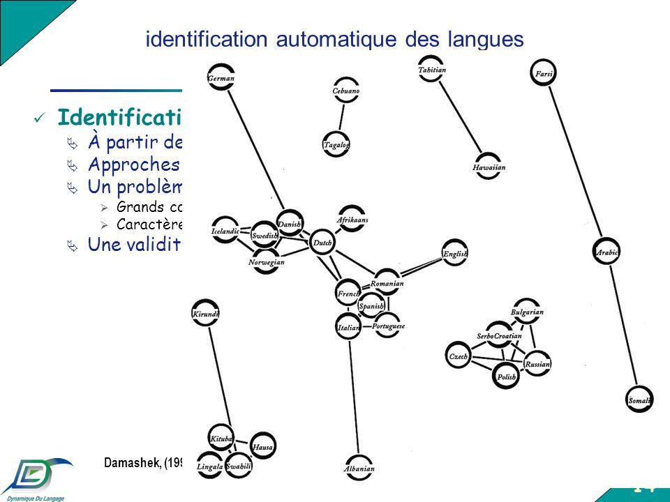 identification automatique des langues a partir de donnees textuelles