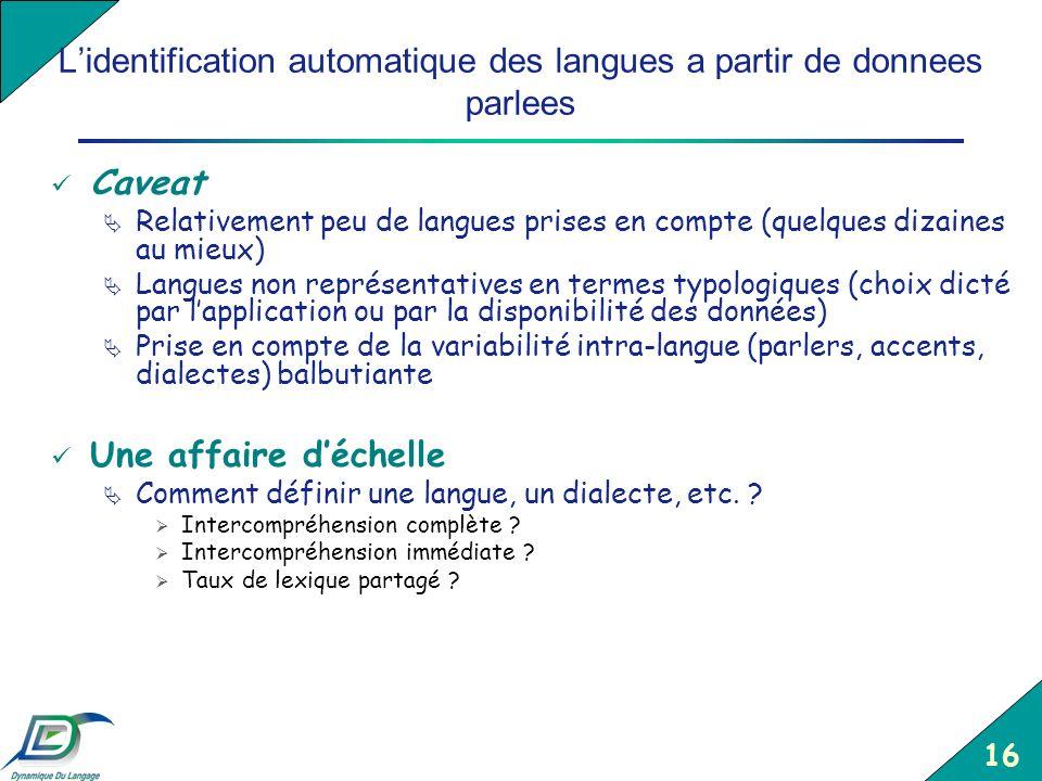 L'identification automatique des langues a partir de donnees parlees