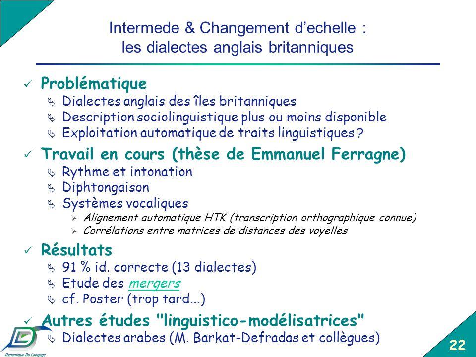 Intermede & Changement d'echelle : les dialectes anglais britanniques