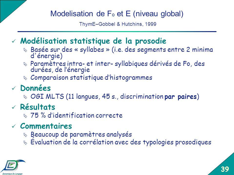 Modelisation de Fo et E (niveau global) ThymE–Gobbel & Hutchins, 1999