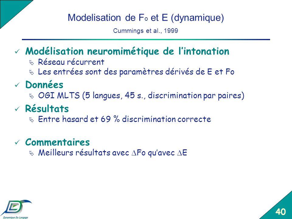 Modelisation de Fo et E (dynamique) Cummings et al., 1999
