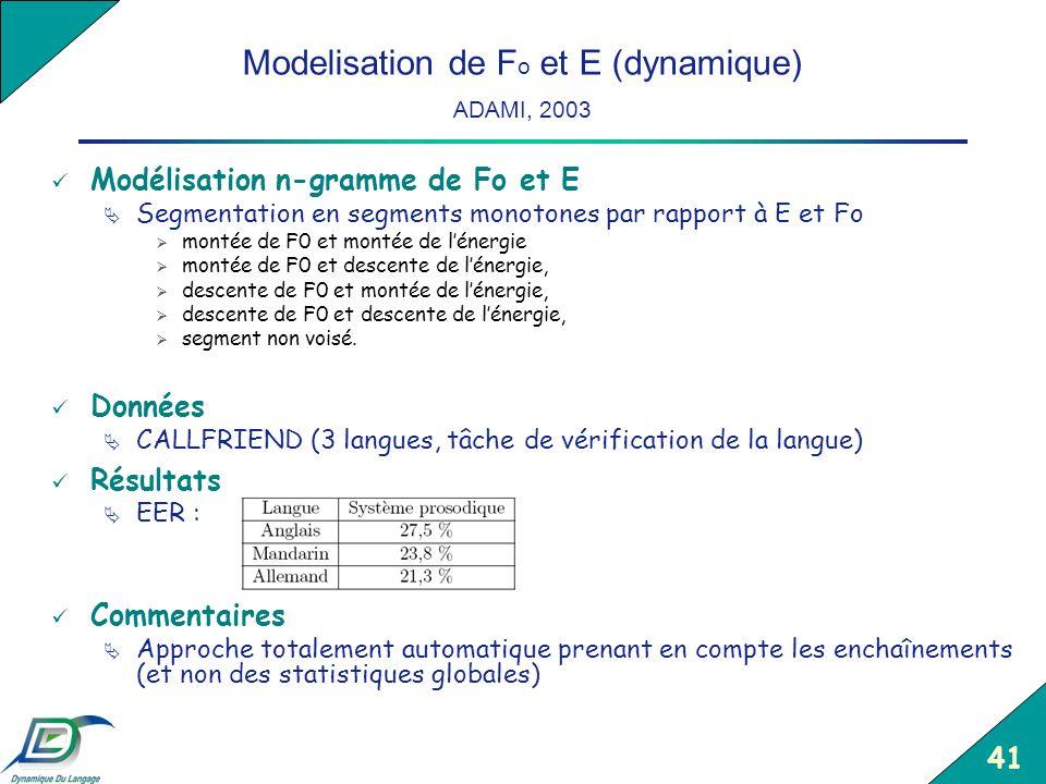 Modelisation de Fo et E (dynamique) ADAMI, 2003