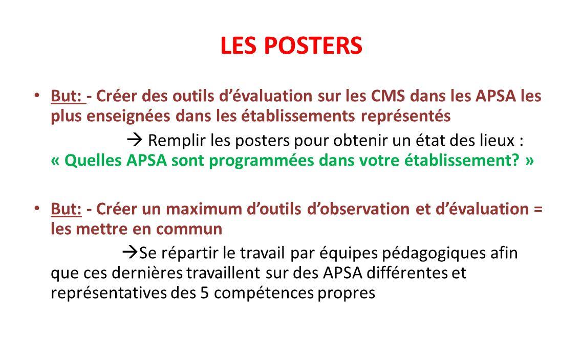 LES POSTERS But: - Créer des outils d'évaluation sur les CMS dans les APSA les plus enseignées dans les établissements représentés.