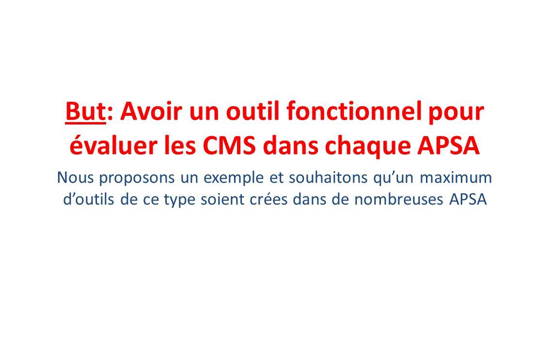 But: Avoir un outil fonctionnel pour évaluer les CMS dans chaque APSA