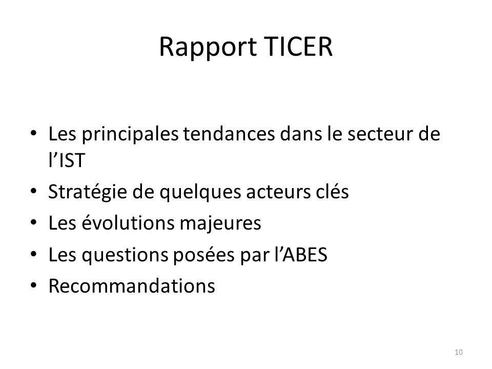 Rapport TICER Les principales tendances dans le secteur de l'IST