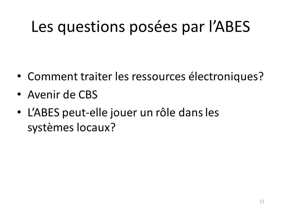 Les questions posées par l'ABES
