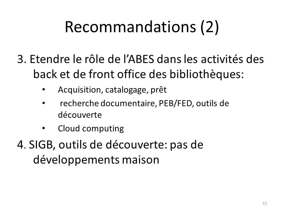 Recommandations (2) 3. Etendre le rôle de l'ABES dans les activités des back et de front office des bibliothèques: