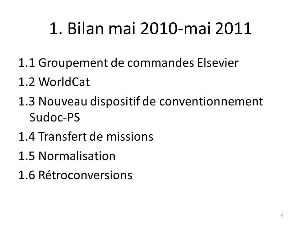 1. Bilan mai 2010-mai 2011