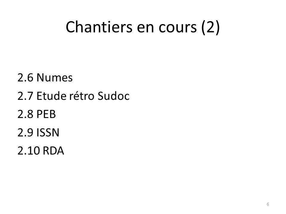 Chantiers en cours (2) 2.6 Numes 2.7 Etude rétro Sudoc 2.8 PEB 2.9 ISSN 2.10 RDA
