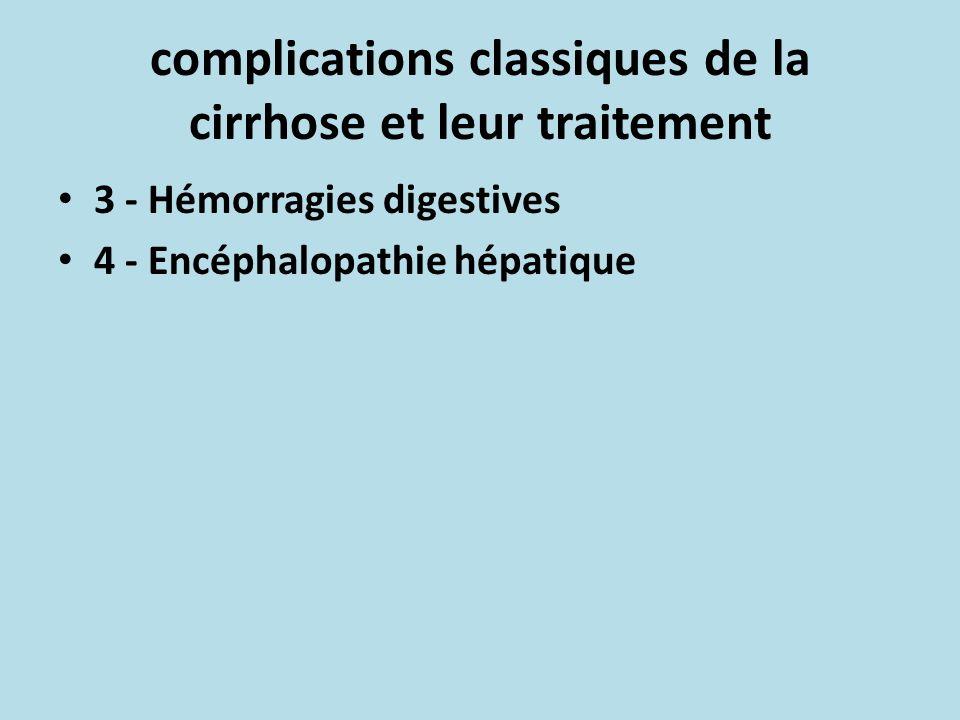 complications classiques de la cirrhose et leur traitement