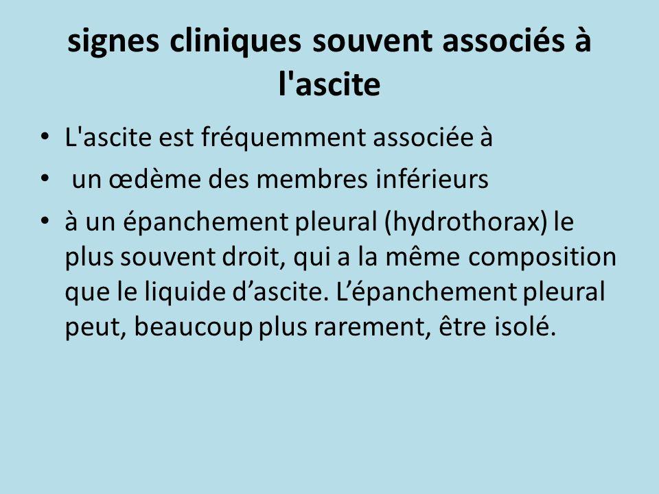 signes cliniques souvent associés à l ascite