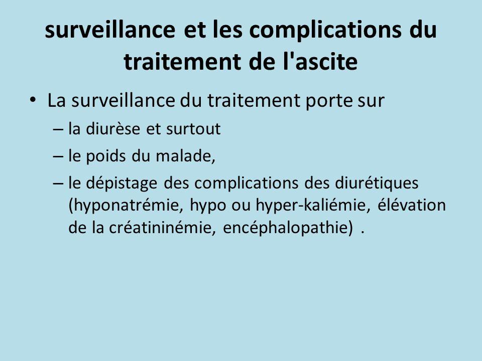 surveillance et les complications du traitement de l ascite