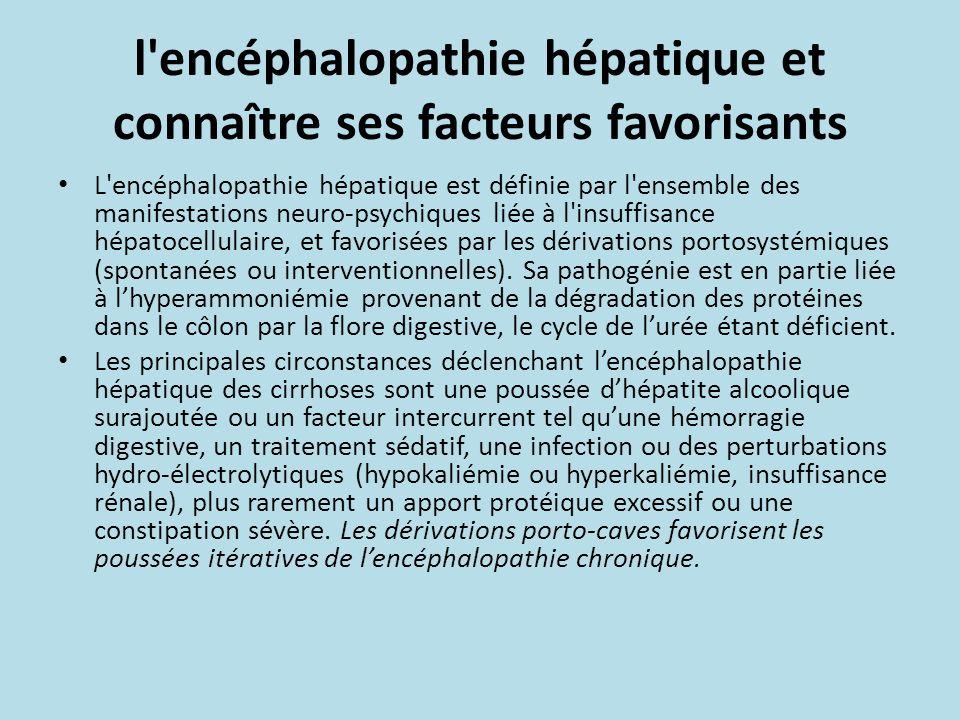 l encéphalopathie hépatique et connaître ses facteurs favorisants