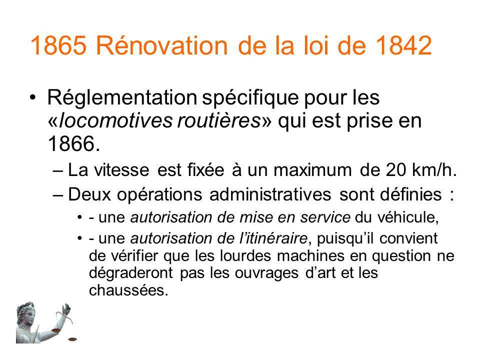 1865 Rénovation de la loi de 1842 Réglementation spécifique pour les «locomotives routières» qui est prise en 1866.