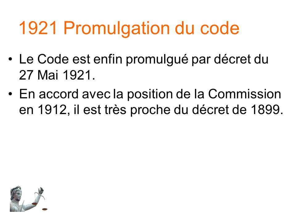 1921 Promulgation du code Le Code est enfin promulgué par décret du 27 Mai 1921.