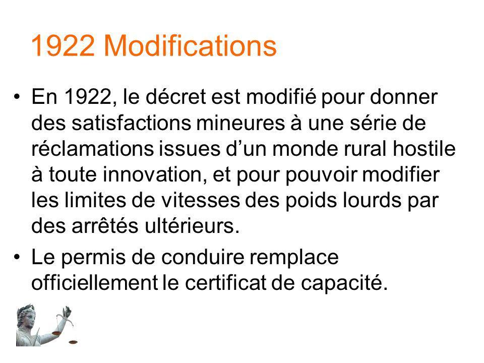 1922 Modifications