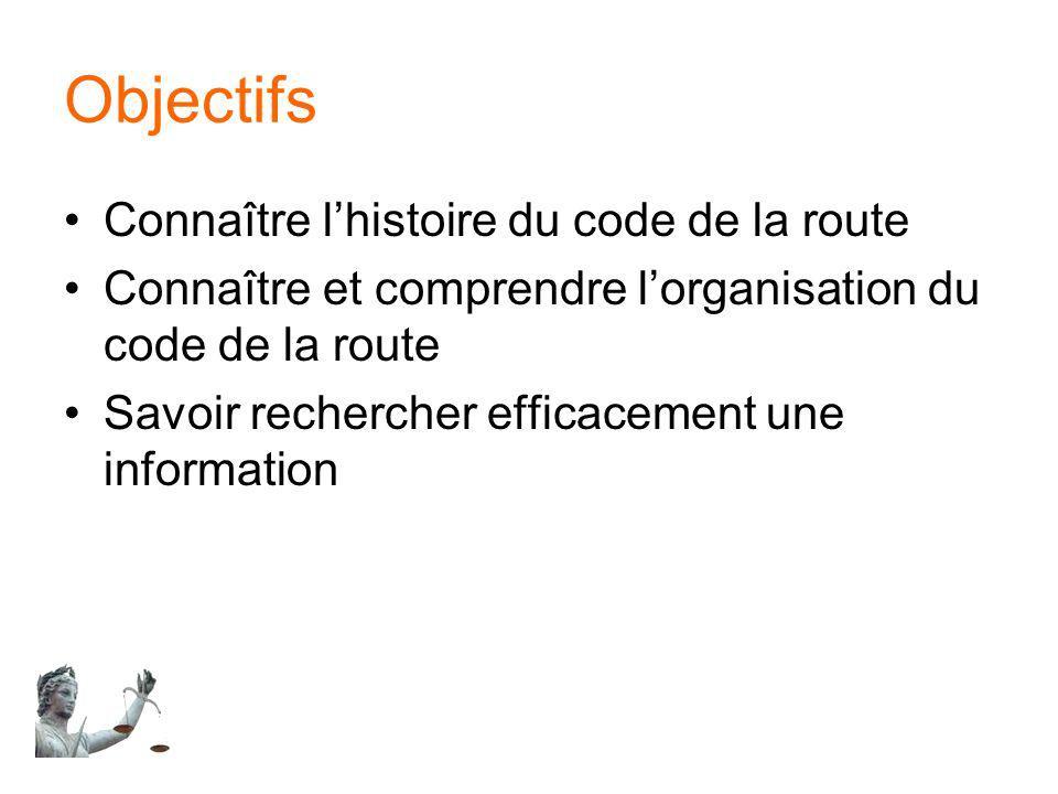Objectifs Connaître l'histoire du code de la route