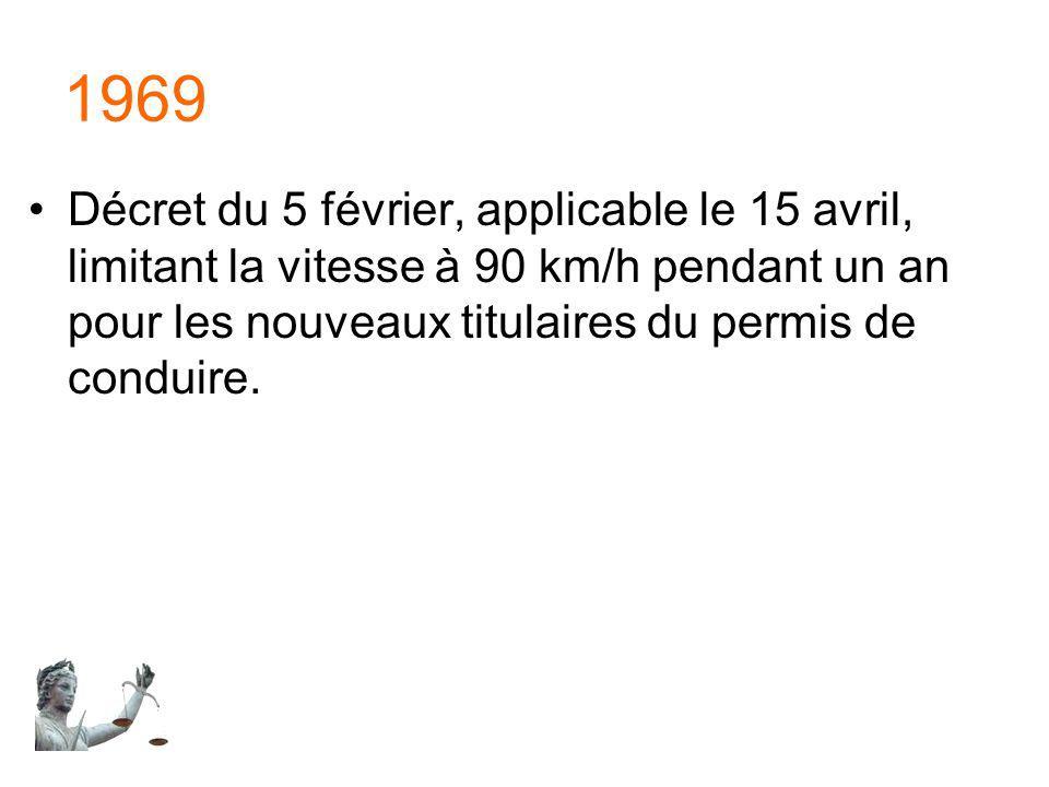 1969 Décret du 5 février, applicable le 15 avril, limitant la vitesse à 90 km/h pendant un an pour les nouveaux titulaires du permis de conduire.