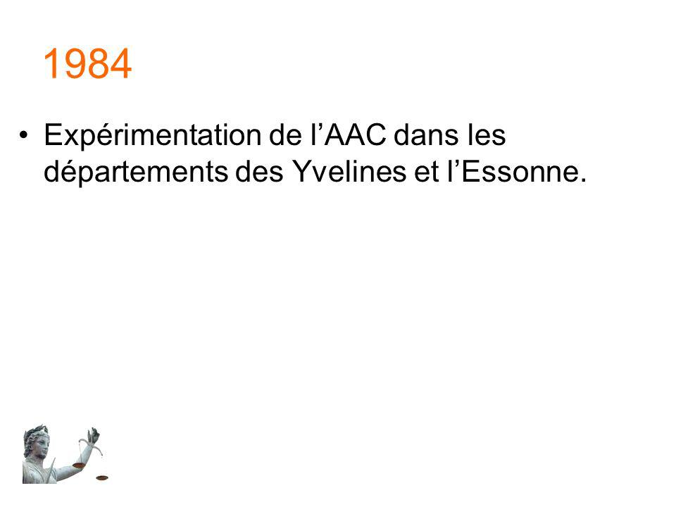 1984 Expérimentation de l'AAC dans les départements des Yvelines et l'Essonne.
