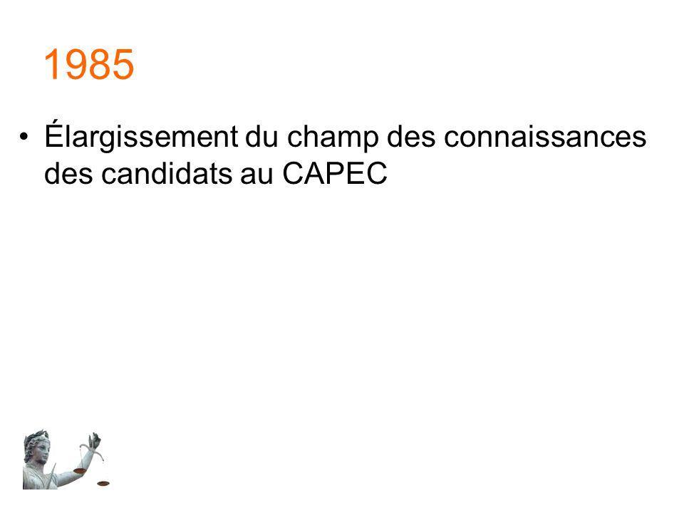 1985 Élargissement du champ des connaissances des candidats au CAPEC