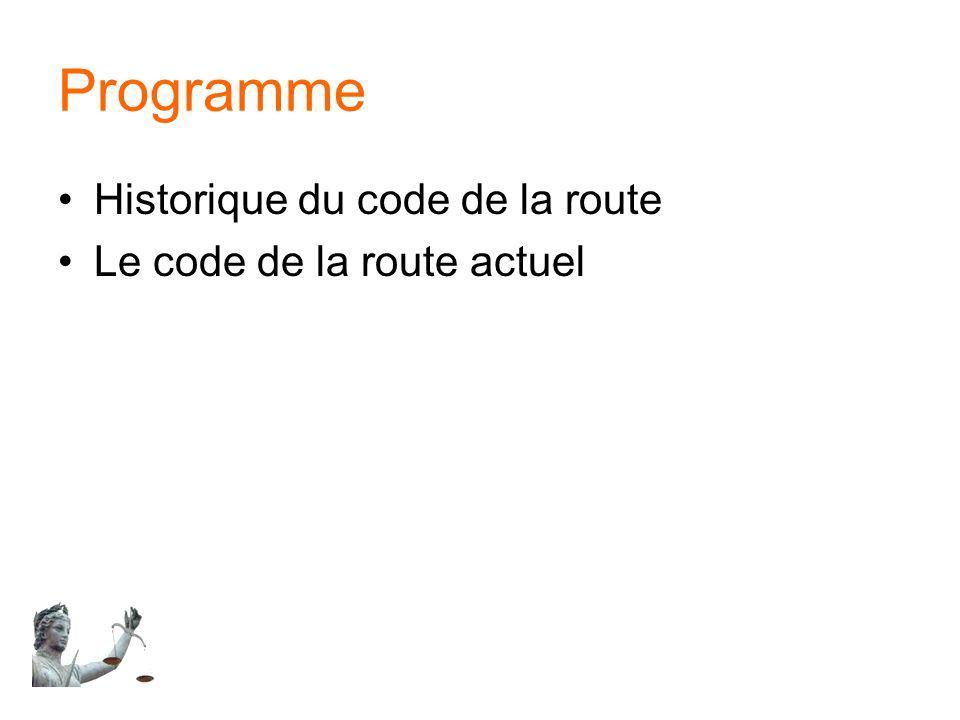 Programme Historique du code de la route Le code de la route actuel