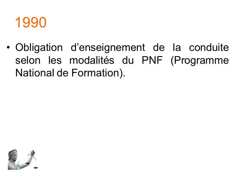 1990 Obligation d'enseignement de la conduite selon les modalités du PNF (Programme National de Formation).