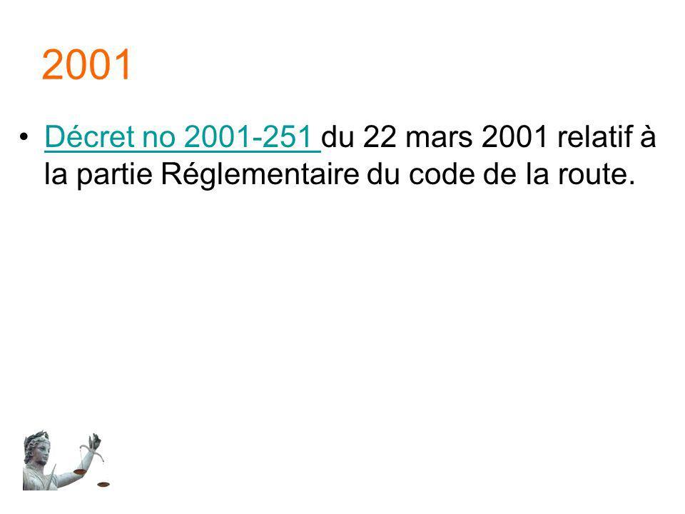 2001 Décret no 2001-251 du 22 mars 2001 relatif à la partie Réglementaire du code de la route.