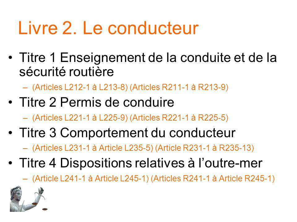 Livre 2. Le conducteur Titre 1 Enseignement de la conduite et de la sécurité routière. (Articles L212-1 à L213-8) (Articles R211-1 à R213-9)