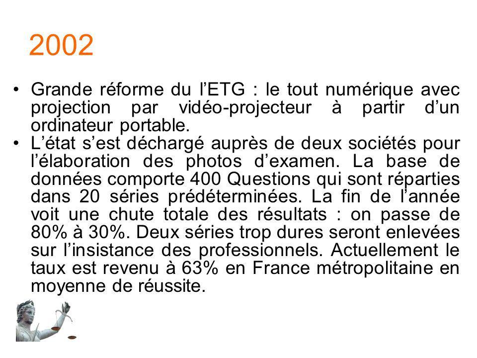 2002 Grande réforme du l'ETG : le tout numérique avec projection par vidéo-projecteur à partir d'un ordinateur portable.
