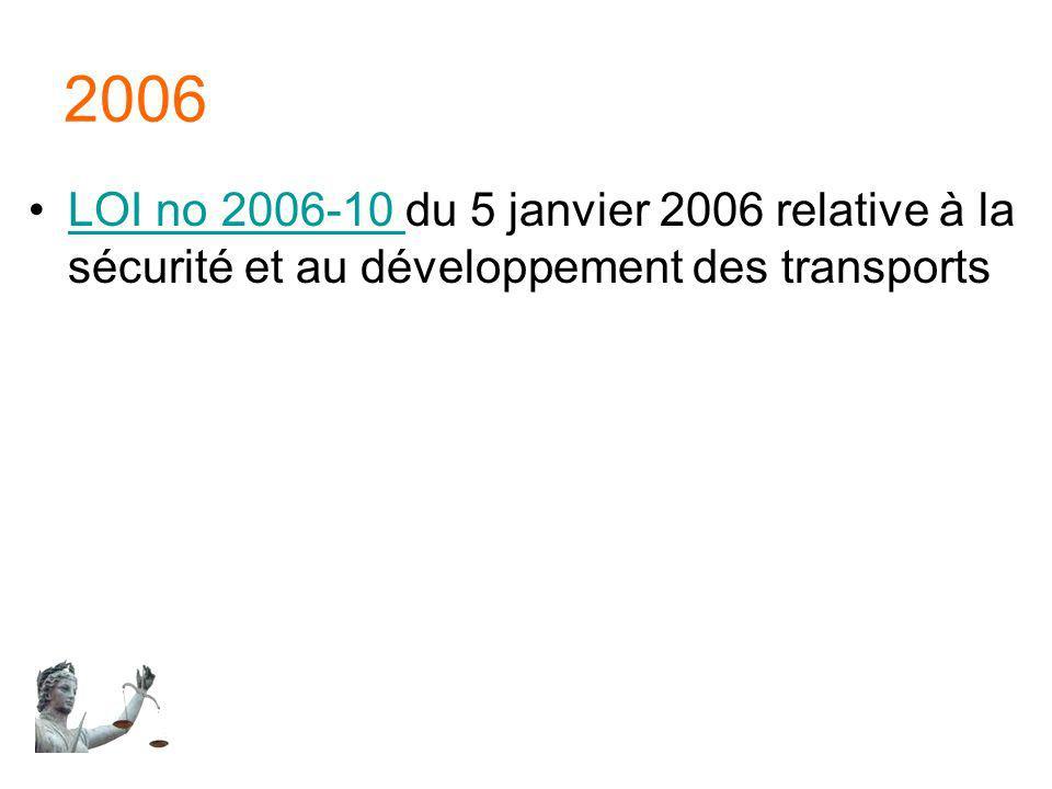 2006 LOI no 2006-10 du 5 janvier 2006 relative à la sécurité et au développement des transports